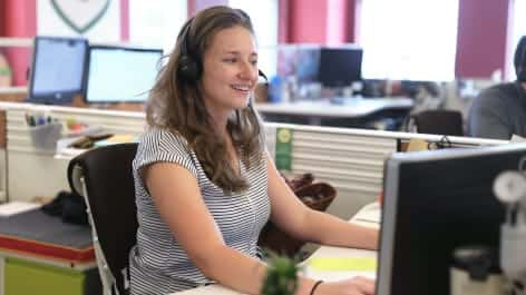 Woman providing customer support