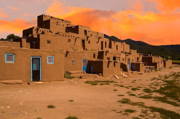 Stacked Pueblo houses.